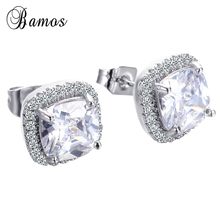Bamos Luxury Women White Square Stud Earring With AAA Zircon 925 Silver Color Double Earrings For Women Fashion Jewelry