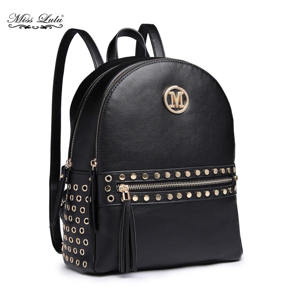 Detail Feedback Questions about Miss Lulu M Women Designer Backpacks School  Bags for Girls Ladies PU Leather Studs Fashion Shoulder Bag Daypack Rucksack  ... 55b6d193318b