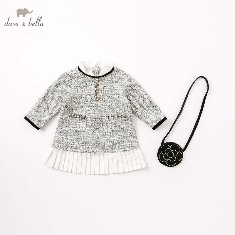 DB8413 dave bella autumn infant baby girls princess dress kids birthday party long sleeve children with bag dresses
