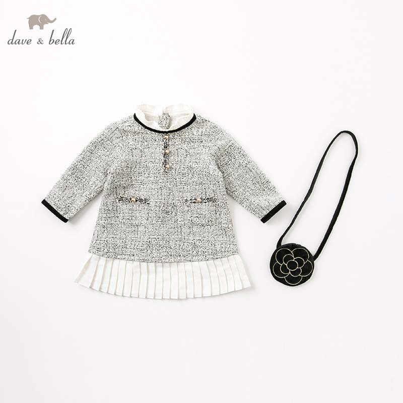 DB8413 vestido de princesa de otoño para bebés y niñas. Vestido de manga larga para fiestas de cumpleaños para niños. Vestidos con bolsa