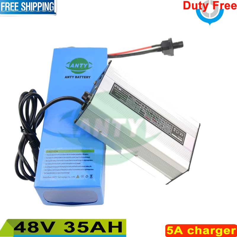 Free shipping / Duty 1500W 48V 35Ah Lithium Battery for Electric Bike 48v ebike Bicycle Built in 26650 cell 50A BMS + 5A Charger battery 48v 14 5ah 1000w for panasonic cell lithium battery 48v with 2a charger built in 30a bms ebike battery 48v free shipping