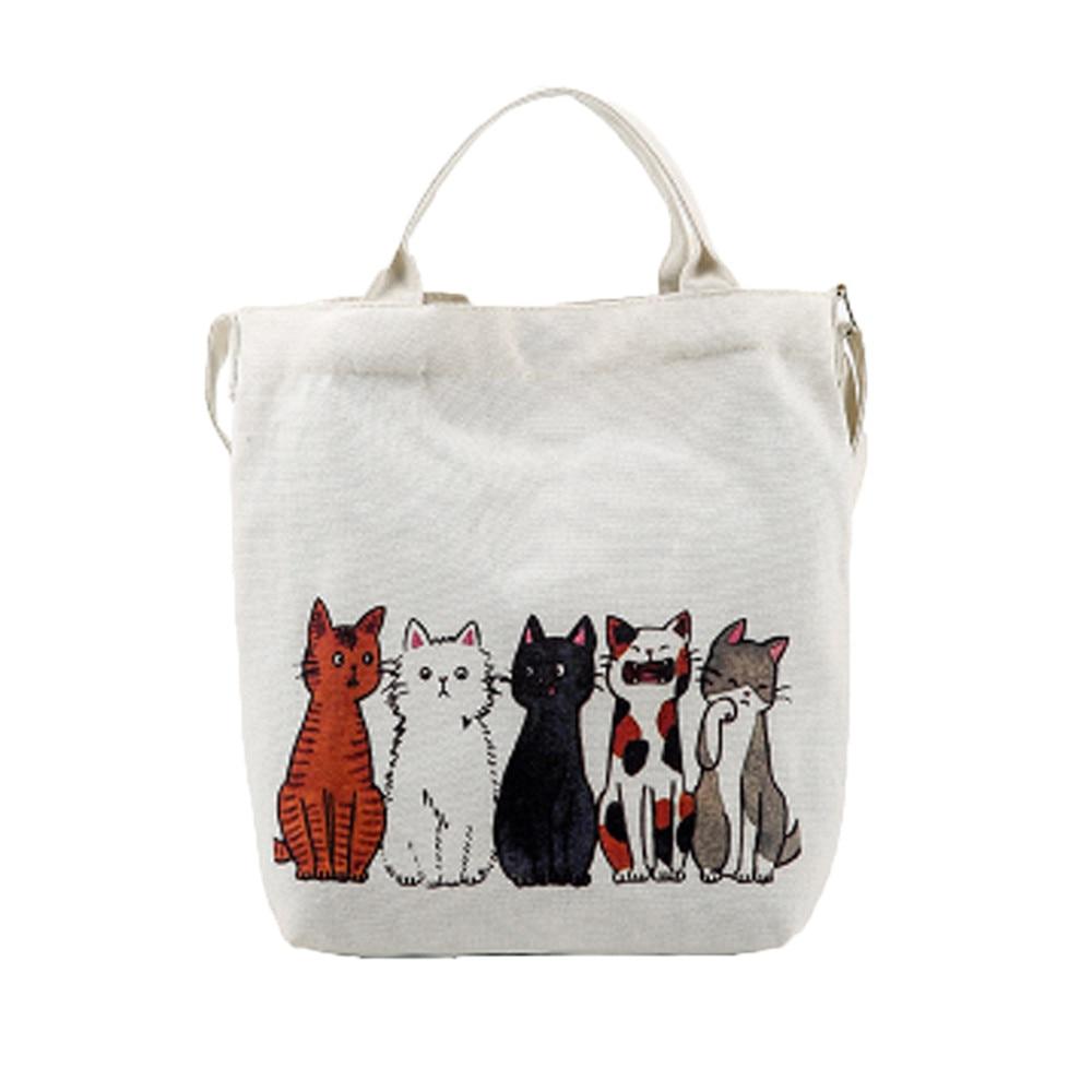 Bags Shopping-Handbags Beach-Shoulder-Bag Women Canvas Tote Cartoon Printed Cats Femme