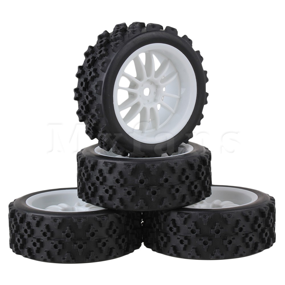Mxfans 4 x RC 1:10 On Road Car Plastic 12 Spoke Wheel Rim + Flower Rubber Tyre Mxfans aluminum 6 spoke wheel rim for 1 10 rc on road racing car