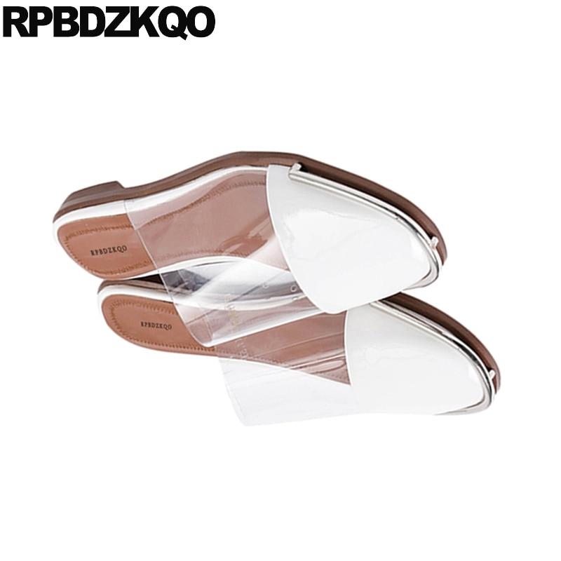 Coréenne De Femmes Pvc Automne Plat Mules Luxe Designer 2018 Sandales Dames Chaussures Diapositives Pantoufles Mode Transparent Clair En Beige Cuir wYxUx