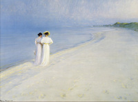 Portrait Painting Women High quality Summer Afternoon on Skagen Beach by Peter Severin Kroyer oil painting on canvas Handpainted