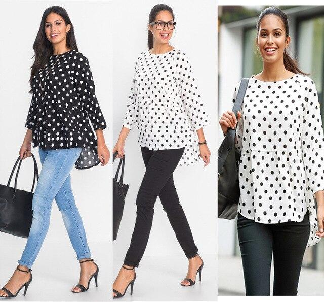 944b0a241877 Black White Polka Dot Women Top Spring Autumn Long Sleeve Female Blouses  Shirt Loose Irregular Larger Women Top Tee Shirt Femme