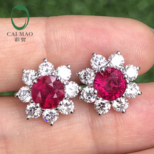 Caimao 2.54ct Ruby White 2.08ct Brilliant Cut Moissnaite 14K White Gold Engagement Earrings Studs caimao jewelry natural red ruby with pearl and diamond engagement 14ct yellow gold pendant