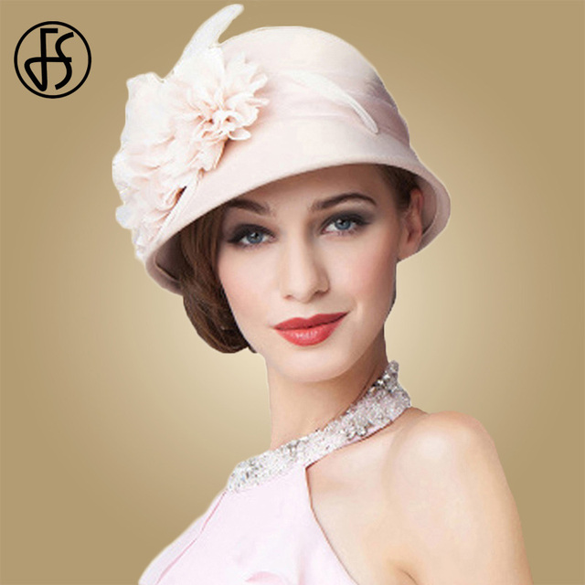 FS Wedding Hat For Women Elegant Pink Fedoras Flowers Wide Brim Wool Felt Vintage Ladies Cloche Hats Bowler Derby Hats