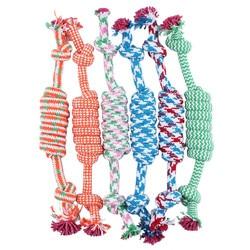 1 pc cor aleatória novo 27 cm cão de estimação filhote de cachorro mastigar algodão corda bola trançado nó brinquedo durável trançado corda de osso engraçado ferramenta
