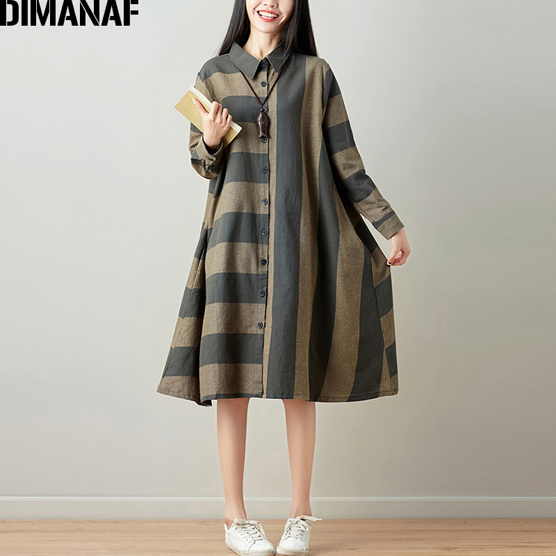 DIMANAF Women Blouse Long Sleeve Shirt Linen Autumn Plus Size Femme Striped Print Office Lady Basic Clothing Loose Cardigan 2018 1