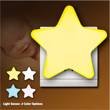 EU / US Plug LED Star Night Lights Wall Socket Bedside Lamp AC 220V 110V Lovely Light Control Children Room Feeding Night Lamps