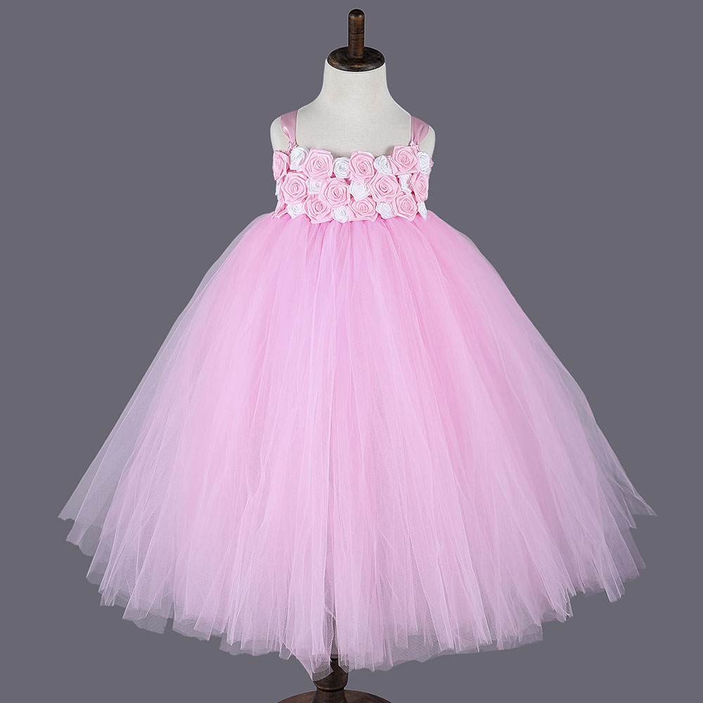 2016 Princess Pink Girl Dresses For Party Pink White Rose Flower Baby Girls Tutu Dresses For Girls Kids Dresses For Girls white iron pink rose flower glass table