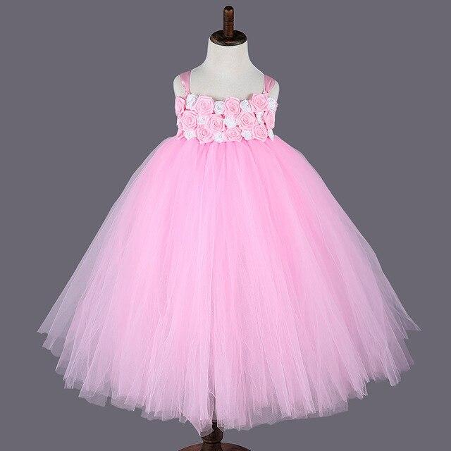 2016 princesa Rosa niña Vestidos para el Partido blanco rosa flor ...