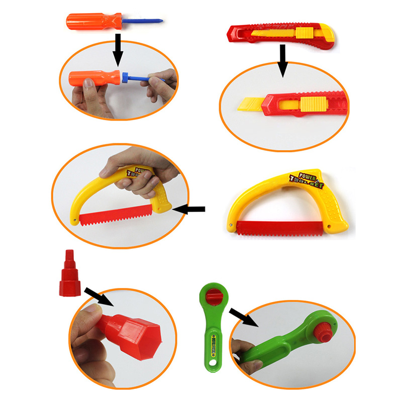 32pcs/Set DIY Creative Brick Toy Maintenance Tools Portable Toolbox Simulation Repair Kit Kid Early Educational For Boy Gift