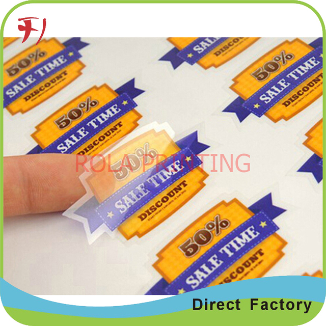 Oem custom roll adhesive clear stickers with glossy or matte vinyl materials