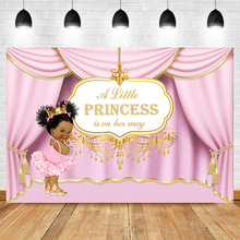 Royal Pink Princess Backdrop Curtain Baby Shower Photography Background Vinyl Banner Backdrops