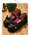 Japanese Sweet Lace Trim Lolita Platform Shoes Bowtie Strap Girls Round Toe Shoes