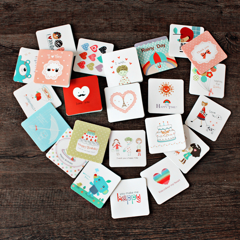 10pcs set korea creative cute mini greeting card birthday for Cute creative christmas cards