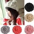 New 2017 Korean Women Winter Hats Girls' Warm Wool Twist Knitted Hat Fashion Beanies For Woman Flowers Cap Accessories Hot Sale