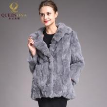 Серое пальто из кроличьего меха, зимнее пальто из натурального меха для женщин, верхняя одежда, теплая меховая куртка для женщин с длинным рукавом, модное пальто из натурального меха