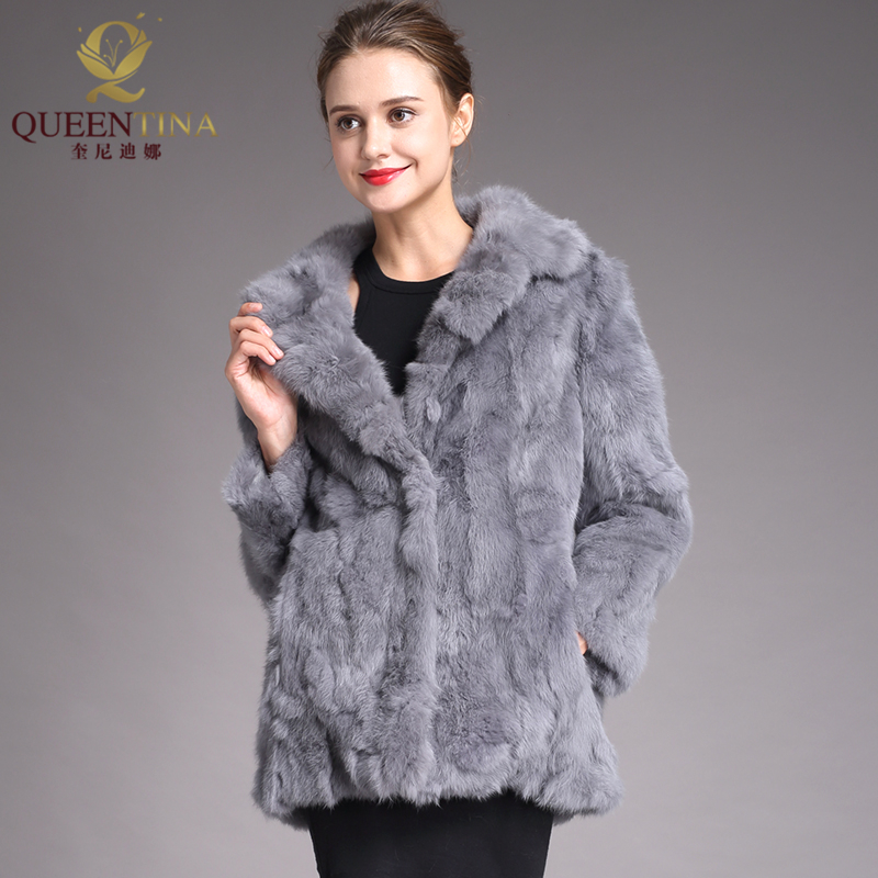 Gray Rabbit Fur Coat 2018 Winter Real Fur Coats for Women Outwears Warm Fur Jacket Female Full Sleeve Fashion Real Fur Overcoat-in Real Fur from Women's Clothing    1