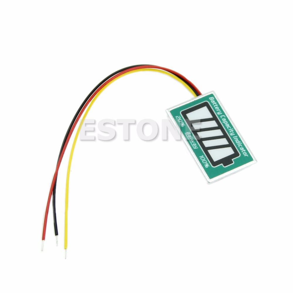 1PC New Digital Capacity Tester Indicator LED for 12V Lithium LiPo LiIon Battery 2016 new lithium battery battery capacity indicator lcd digital percentage residual capacity display