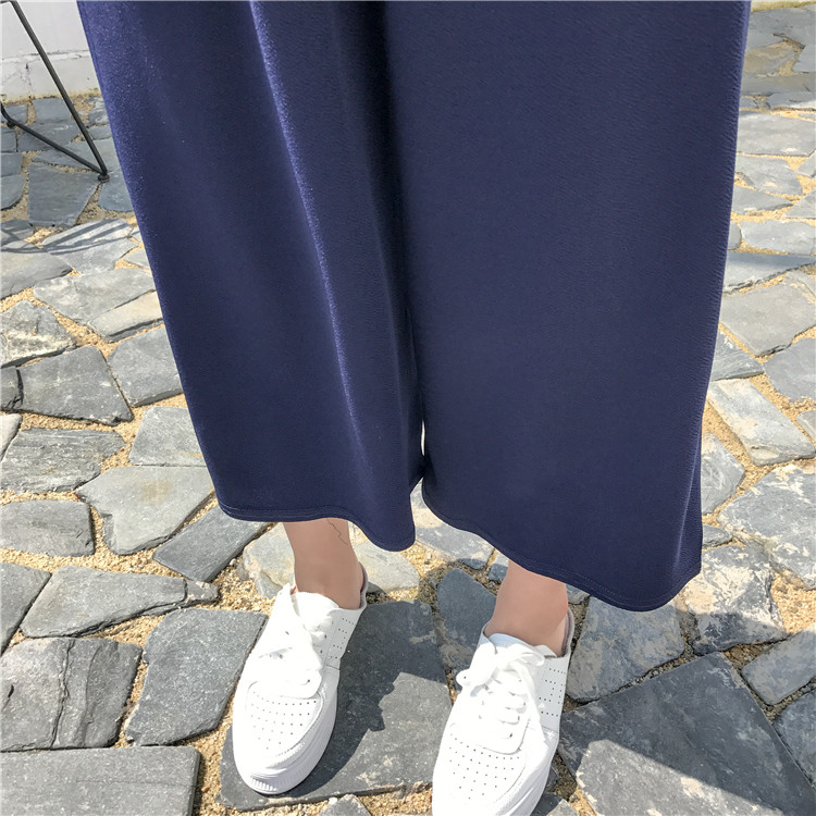 19 Women Casual Loose Wide Leg Pant Womens Elegant Fashion Preppy Style Trousers Female Pure Color Females New Palazzo Pants 57