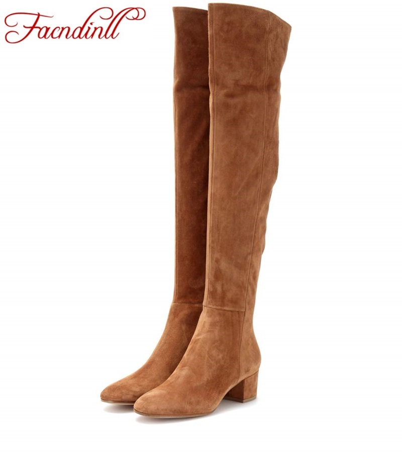 FACNDINLL winter boots suede leather thigh high boots sexy fashion over the knee boots high heels woman shoes black botas mujer 2013 winter brand fashion luxury natural white fox fur collar hood denim jacket duck down jacket women outerwear s m l xl d2124