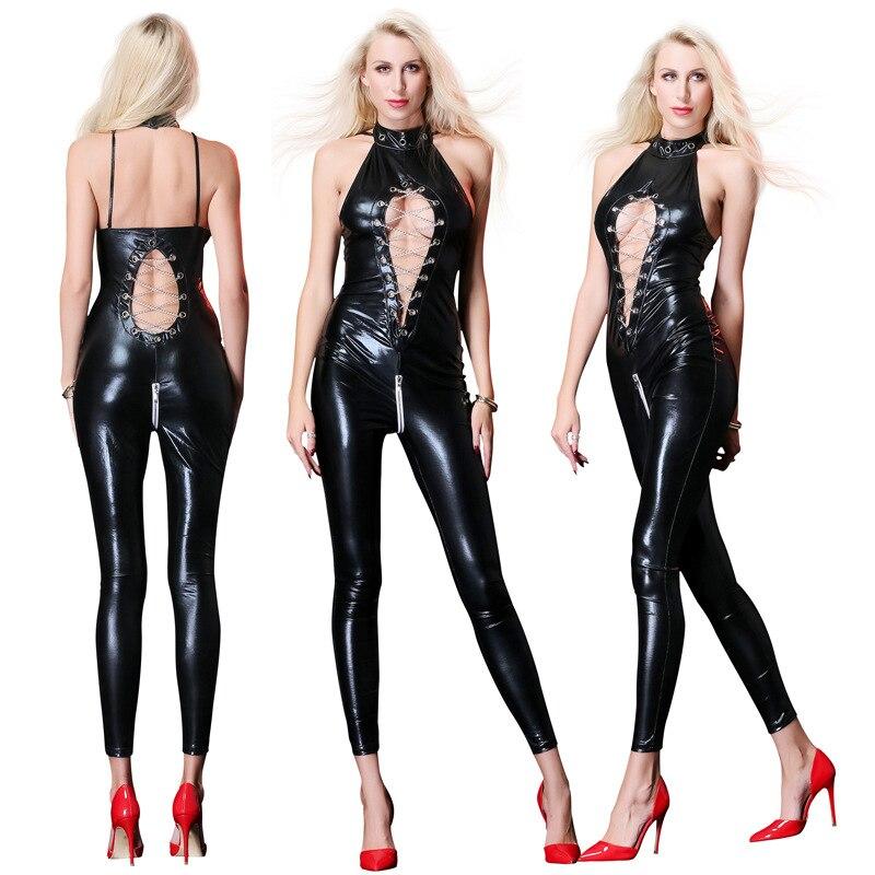 Hot Sexy Lady Black Leather Latex Catsuits Low Cut With Zipper Open Crotch Elastic Wetlook PU Leotard Bodysuit Bar Clubwear