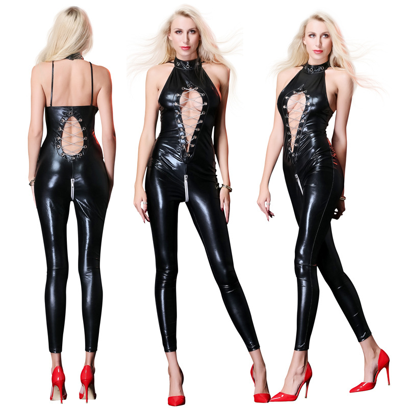 Hot Sexy Lady Black Leather Latex Catsuits Low Cut With Zipper Open Crotch Elastic Wetlook PU Leotard Bodysuit Bar Clubwear