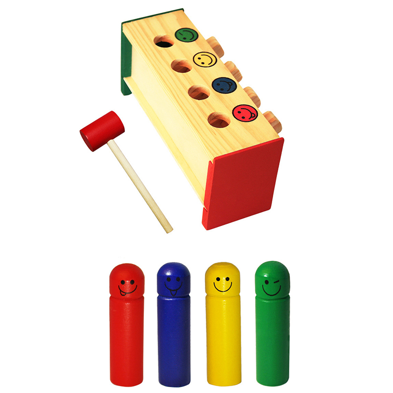 Wooden Toys Enlightenment Percussion Toy Wooden Beat Trapeze Educational Toys for Children 1-4-year-old Baby Toys