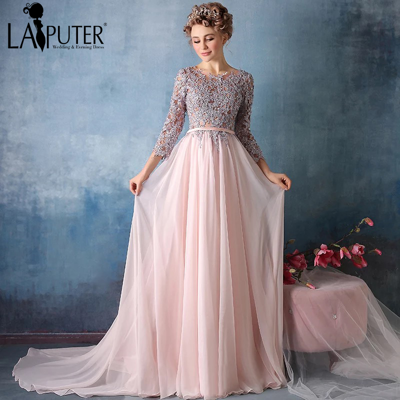 30 Exquisite Elegant Long Sleeved Wedding Dresses Chic: Gray Lace Beading Crystal Formal Three Quarter Sleeve