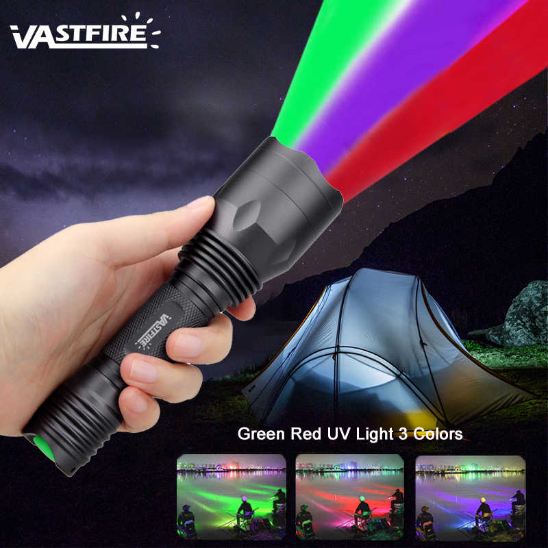 3 In 1 Tactical UV Green Red LED Flashlight Tracker Hog Lamp Hunting Torch 18650