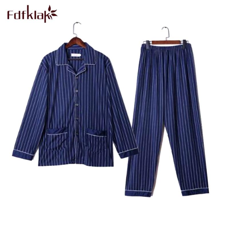 Fdfklak Autumn Winter Pajamas For Men Long Sleeve Cotton Pyjamas Men Plus Size Men's Sleepwear Pajama Set Pijama Hombre L-3XL