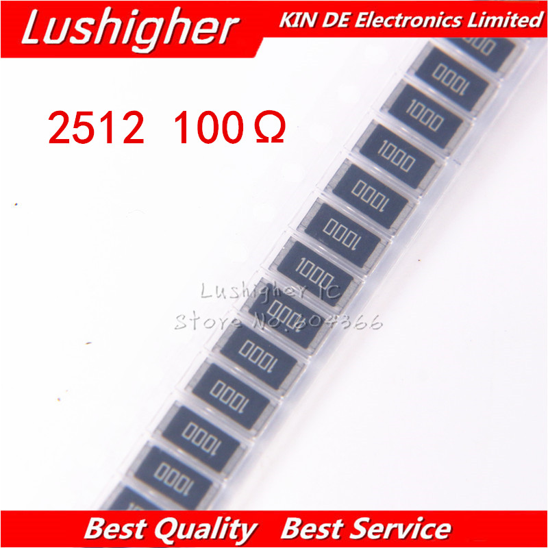 50PCS  2512 SMD Resistor 1W 1% 100R 100 Ohm 100ohm 1000