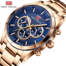MINI FOCUS Mens Quartz Watches 2019 New Stainless Steel Chronograph Waterproof Luminous Business Wristwatch Man 170G Gold blue