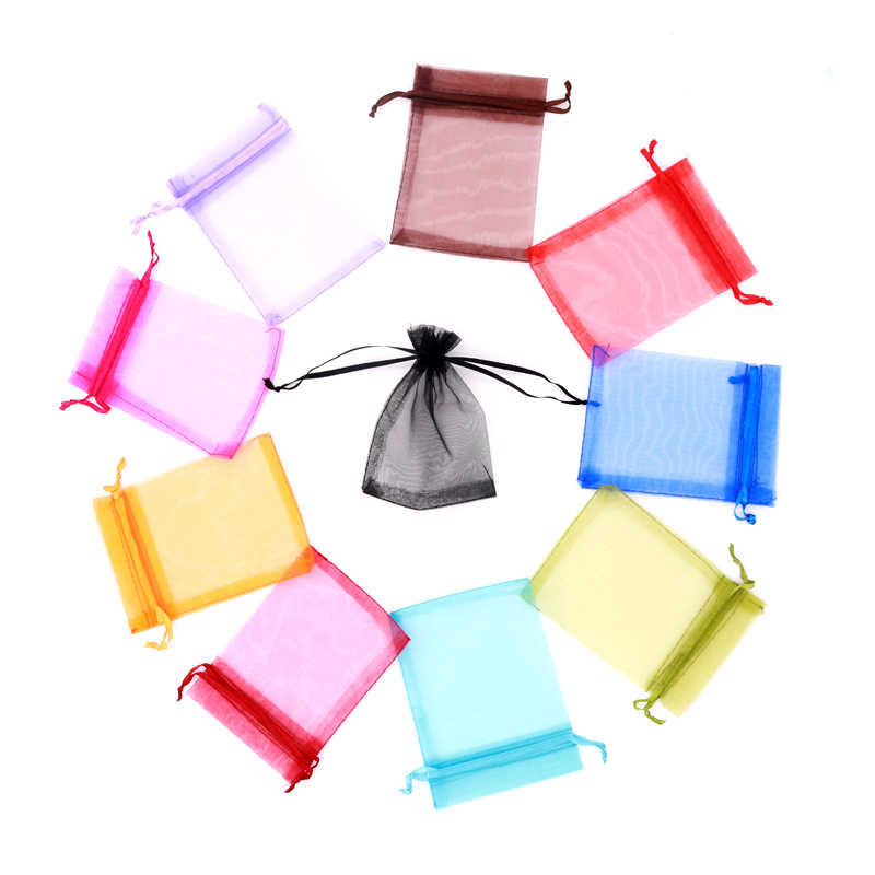 10pcs/lot (7x9cm) Drawable Organza Bags Favor Wedding Christmas Gift Bag Jewelry Packaging Pouches Birthday Party Decor Supplies