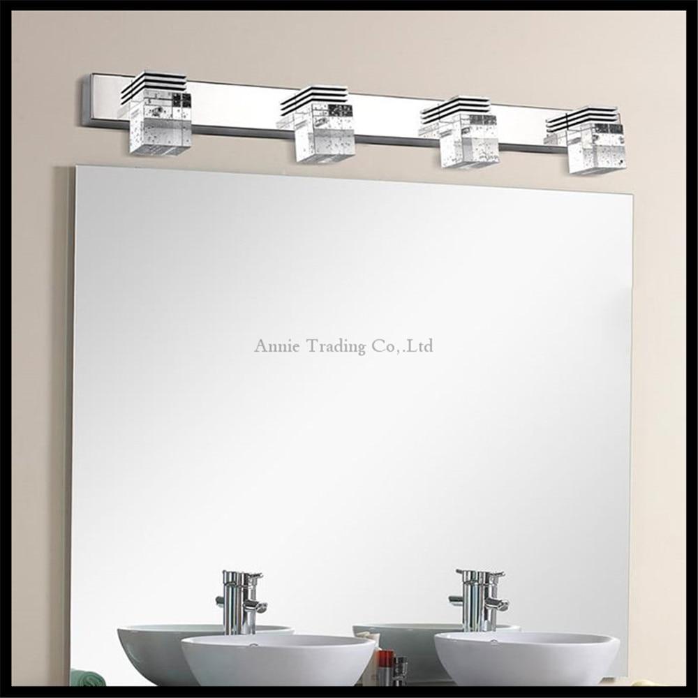 Crystal ledmirror light bubble crystal stainless steel bathroom mirror - 110v 220v 12w 61cm Led Crystal Bathroom Lights Clear Crystal Rain Drop Lampshade Mirror Lamp Makeup