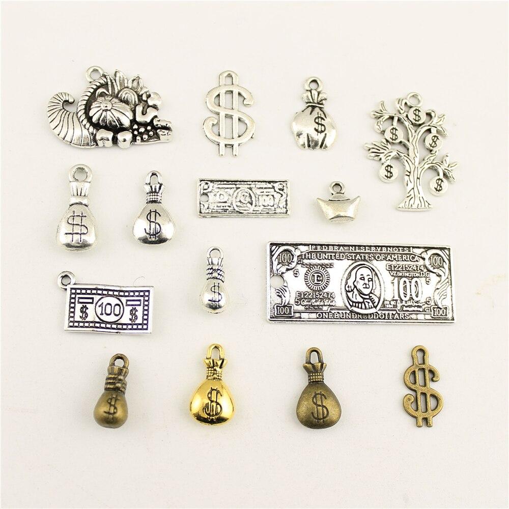 10 pçs jóias feminino dinheiro dólar símbolo carteira charme diy jóias acessórios charme diy acessórios