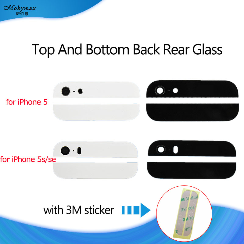 1Set Back Cover Glass Rear Housing For iPhone 5 5S SE Assemble Housing Top Bottom Replacement Parts Camera Flash Lens+3M Sticker(China)