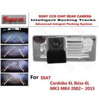 for SEAT Cordoba 6L Ibiza 6L MK3 MK4 02~ 15 CCD Car Backup Parking Camera Intelligent Tracks Dynamic Guidance Rear View Camera