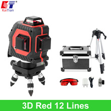 KaiTian 3D Laser Level Tripod with Tilt Slash Function and 360 Rotary Self Leveling Outdoor 650nm EU Laser Beam Cross Line Level