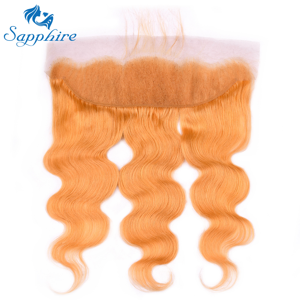 Sapphire Pure orange Color Malaysia 13*4 Human Hair Lace Frontal 13*4 Lace Closure Frontal with Baby Hair For Hair Salon
