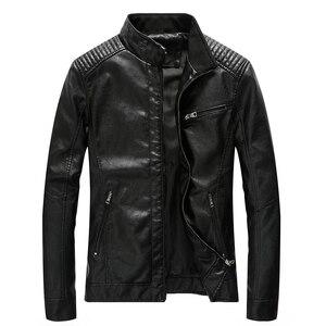 Image 2 - Chaqueta de cuero de poliuretano para hombre, chaqueta ajustada informal para motocicleta, con cuello levantado, envío directo ABZ174