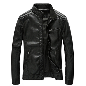 Image 2 - New Spring Mens Leather Jackets Stand Collar Motorcycle Pu Casual Slim Fit Coat Outwear Drop Shipping ABZ174