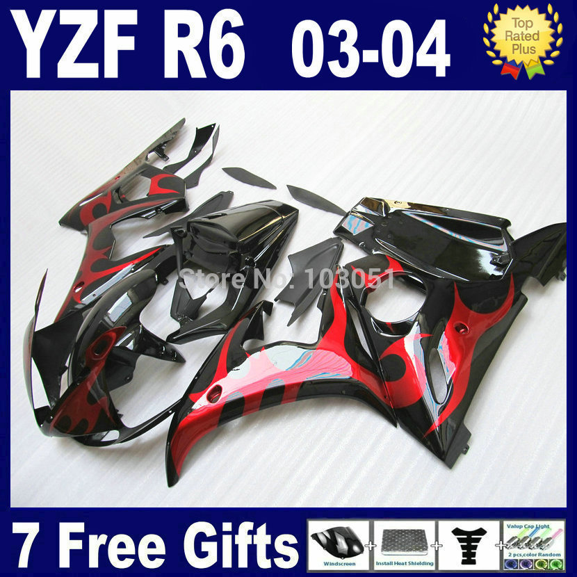 Custom OEM motorcycle fairings kit For Yamaha YZF R6 2003 2004 2005 R YZF R6 03 04 05 plastics  big flame body fairing kits