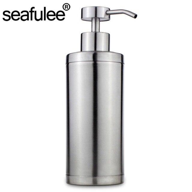 300ML 304 Stainless Steel Soap Liquid Dispenser Pump Shampoo Bottle ...