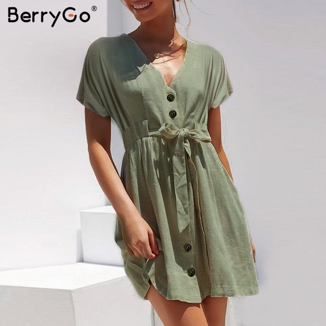 BerryGo Sexy v-neck women dresses linen dress Vintage short sleeve button sash mini dress Casual streetwear summer dress vestido 1