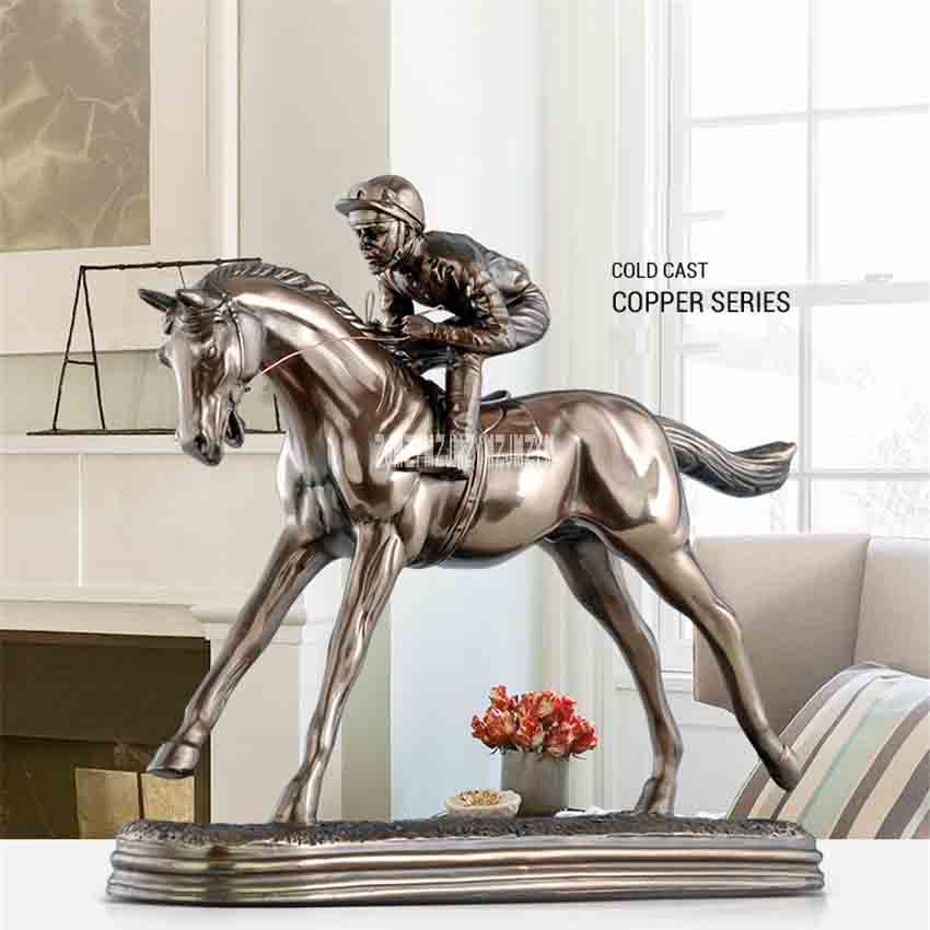 Creative European-style Vintage Home Ornament TKD853 Resin Horse Racing Statue Desktop Decoration Living Room Decor Crafts GiftsCreative European-style Vintage Home Ornament TKD853 Resin Horse Racing Statue Desktop Decoration Living Room Decor Crafts Gifts