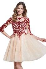 Kurzes Kleid der 15 Rot Homcoming Kleid 2017 3/4 Ärmeln Pailletten Applique Illusion Zurück Graduation Kleider Plus Größe 12051421